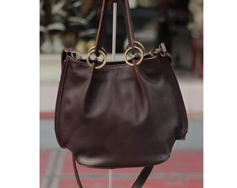 DARK BROWN LEATHER Tote Bag Soft, Leather Purse w/ Short/Long Straps