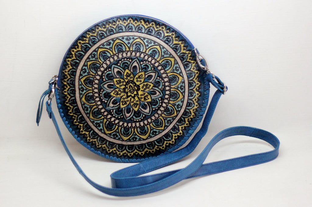 BLUE TOOLED LEATHER Handbag, Hand Painted Purse, Round Leather Bag