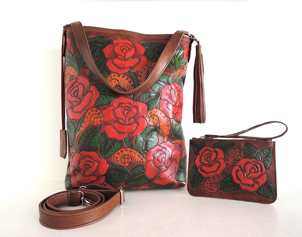 TOOLED LEATHER PURSE in Hand Painted/Carved Red Floral Roses Tote Bag / Brown Dorothy bag