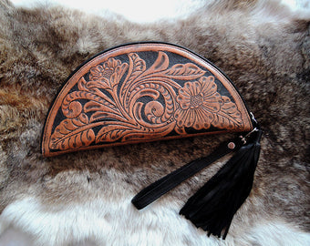 TOOLED LEATHER PURSE in Celestial Crescent Moon. Artisan Handmade Clutch/ Handtooled Wallet
