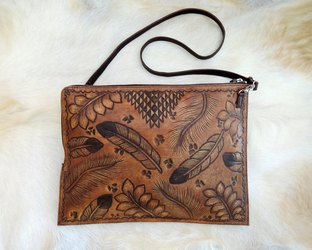 TOOLED LEATHER BAG, Handmade/Handcrafted Bag, Tribal Feather Vintage Tan Document