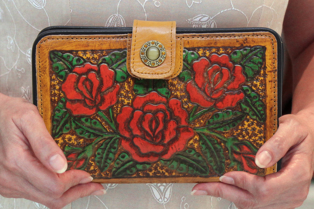 12b58375f31e TOOLED LEATHER PURSE, Tooled Wallet, Billfold Travel Wallet, Handmade  Painted Leather Roses