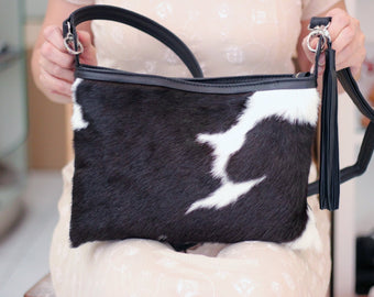 COWHIDE BAGS BLACK and White Cow Fur
