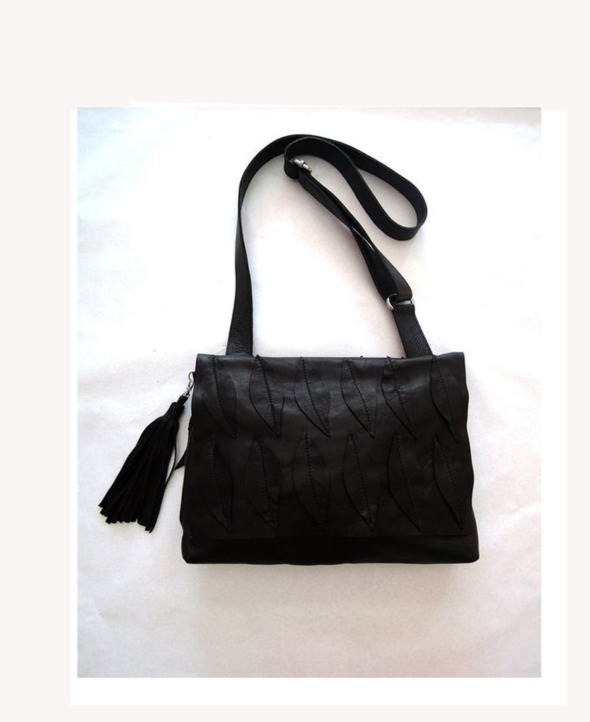 BLACK LEATHER BAG. Soft Leather Bag. Cross Body Weekend bag