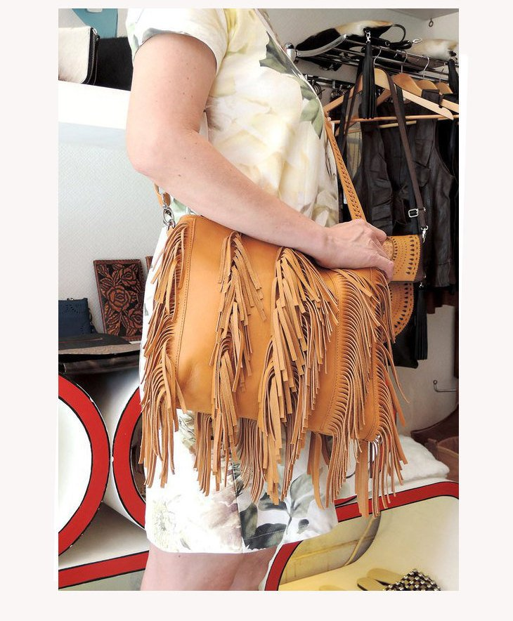 FRINGE BAG FESTIVAL Bag, Tan Bag w/ Leather Tassels. Audrey Boho Bohemian Purse