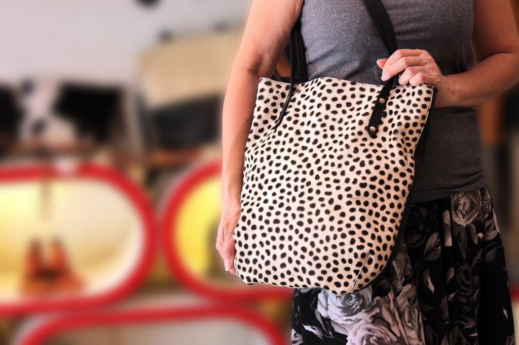 LEOPARD LEATHER Tote Bag in White Black Genuine Leather Cow Fur Bags