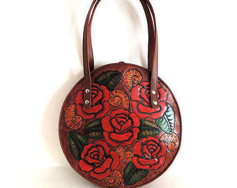 ROSE CIRCLE Bag, Painted Leather Purse Red Roses, Cowgirl Purse, Handcrafted Market Bag
