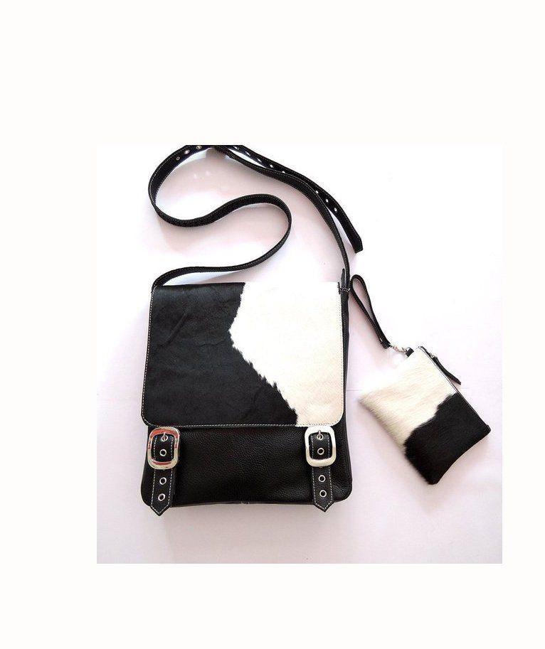 BLACK WHITE COWHIDE Bag Leather / Satchel Calf Hair Bag