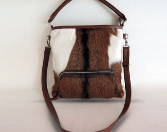 COW HAIR BAG Calf Hair Bag Brown Cowhide Bag
