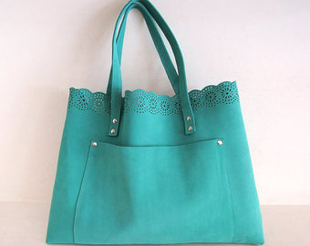 GREEN LEATHER TOTE Bag, Tooled Leather Bag Scallops, Weekender Shopper Bag