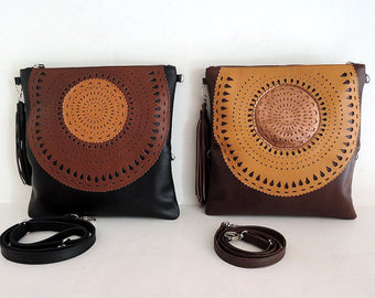 BROWN TOOLED LEATHER Handbag, 2 in 1 Folds Into Clutch.