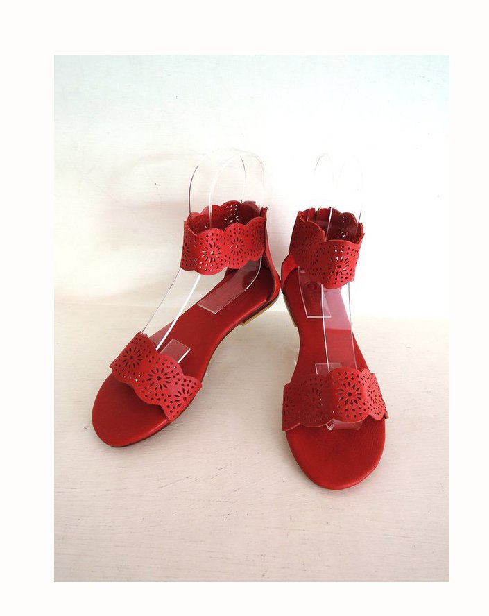RED LEATHER SANDALS Women in Hand Tooled Genuine Leather / Strappy Sandals