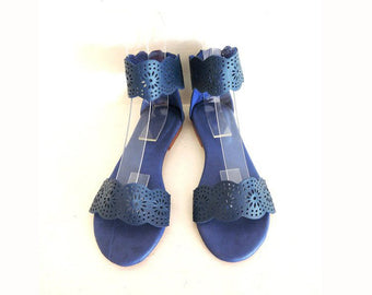 GENUINE LEATHER SANDALS in Navy Blue & Hand Tooled Florals. Hand Made Britney
