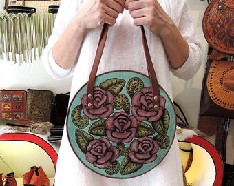 TURQUOISE BAG, ROUND Bag, Round Circle Purse Hand Painted/Tooled Purse Pink Roses