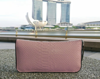 BLUSH LEATHER WALLET, Snake Embossed Clutch, Women's Leather Wallet
