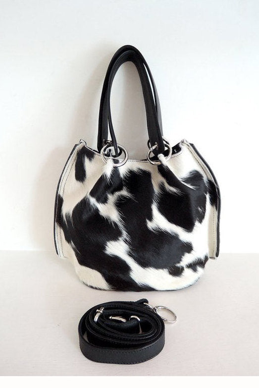 SMALL TOTE BAG in Black White. Sling Bag Crossbody in Cow Hide Hair w/ Leather