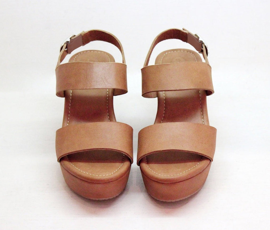 TAN LEATHER Tan Platform Sliders, Slingback 80s Vintage Dance Heels / Platform Shoes
