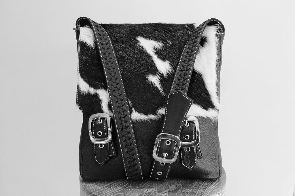 BRAZIL COWHIDE BAG in Black White / Women's Leather Satchel Bag