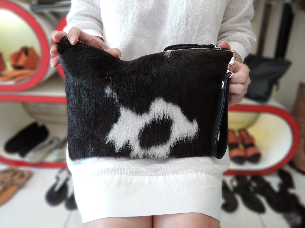 FULL COWHIDE PURSE, Brazillian Clutch, CowHide Bag, Black White Bag