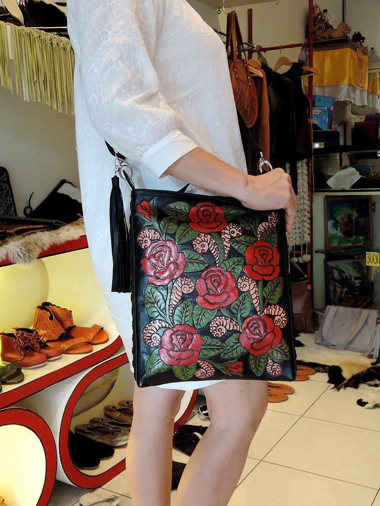 ROSE BAG LEATHER, Tooled Leather Purse Red Roses w/ HandMade Weave Detail