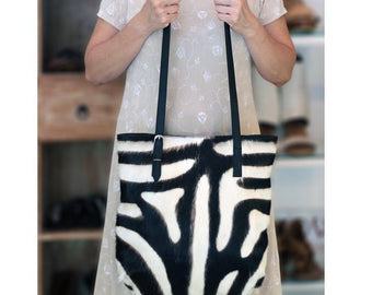 COWHIDE HAIR TOTE, Zebra Bag, Pony Hair Bag. Black White