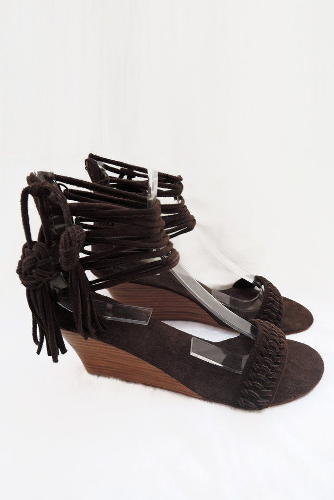 DARK BROWN SUEDE LEATHER Shoes for Women, Wedges, Lace Up Designer Sandals