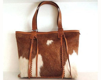 COWHIDE BAG in Brown and White Hair on Hide