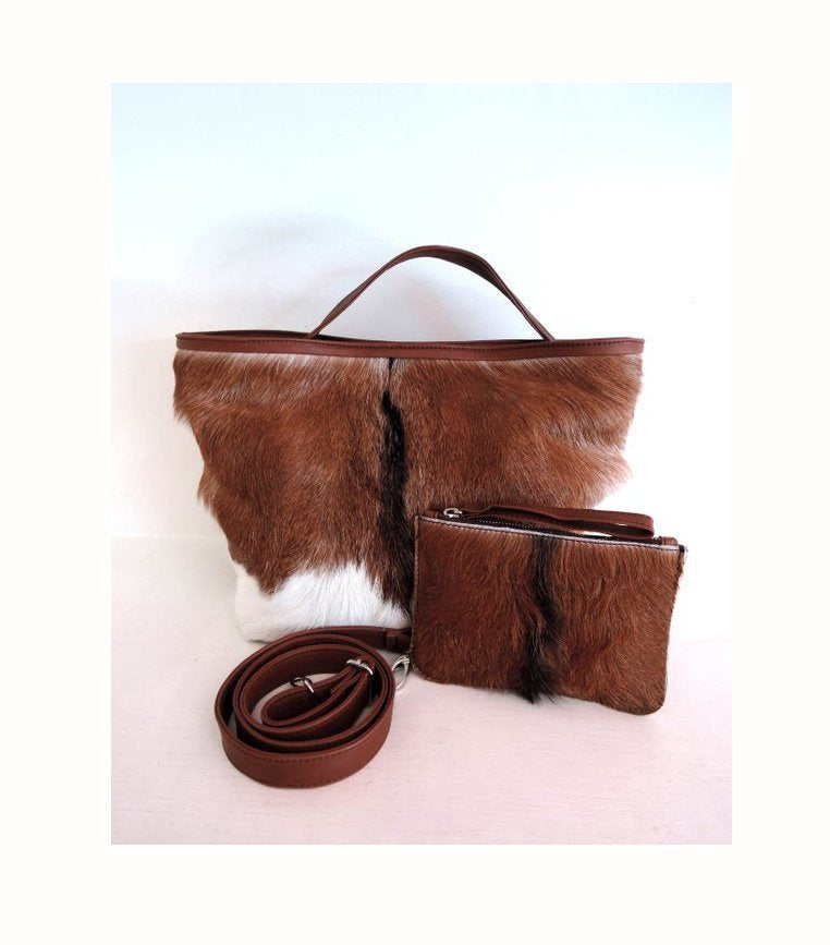 BROWN AND WHITE Cowhide Bag. Cowhide Purse, Calf Hair Bag