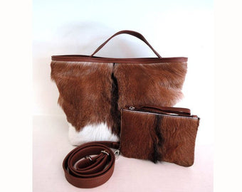 BROWN AND WHITE Cowhide Bag  Cowhide Purse Calf Hair Bag