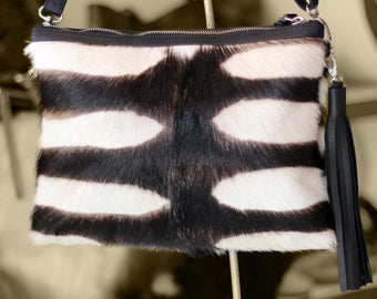 COWFUR PURSE in Zebra CowHide Hair Bag, Cowhide Handbags