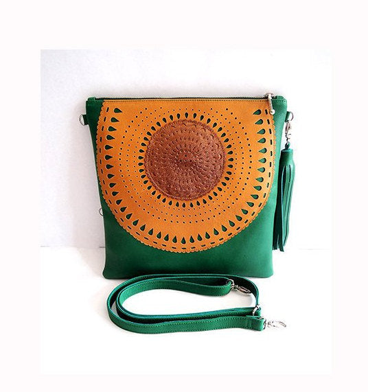 GREEN HAND TOOLED Green Ipad Case. 2 in 1 Bag Folds into Clutch Purse.