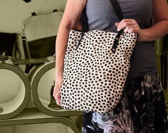 LEOPARD PRINT BAG, Hair on Hide, Polka Dots, Black and White.