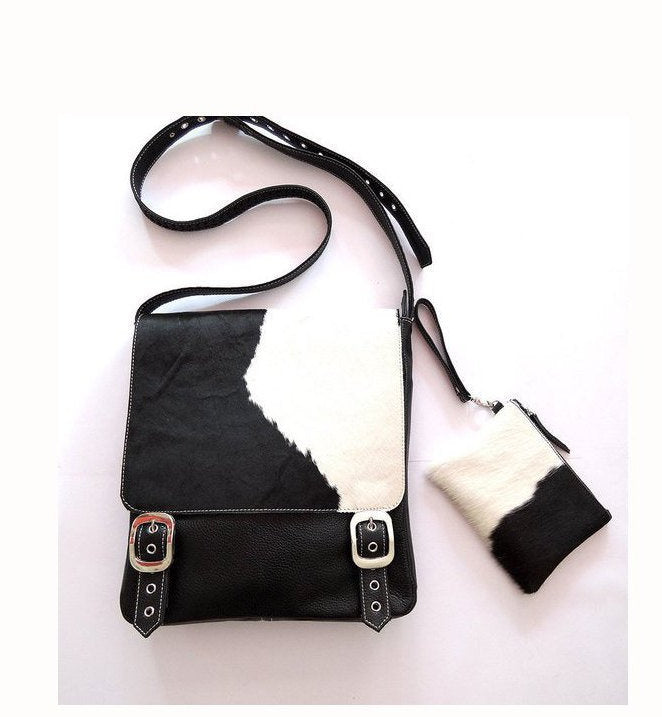 COWHIDE Satchel in Black White / Hair on Cowhide Shoulder Bag