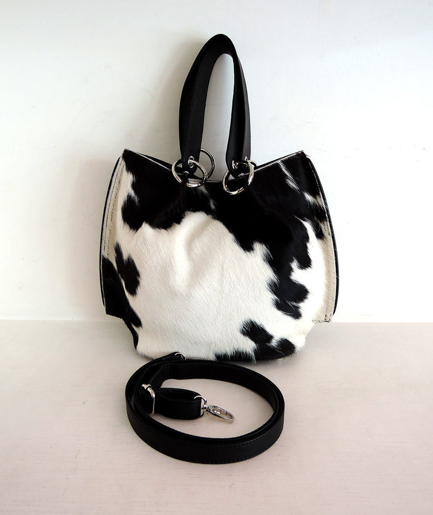 Black and White, Pony Hair Clutch, CrossBody Bag Black