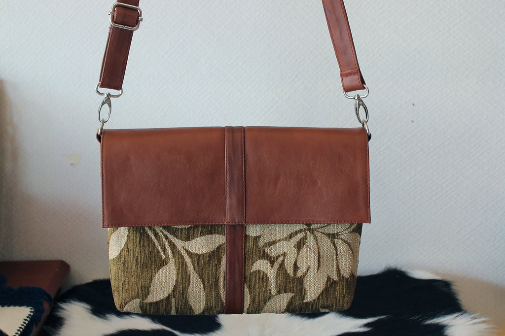 Brown Antique Leather and Brown Flower Canvas in Messeger Bag