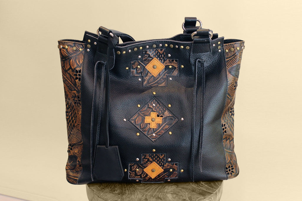 TOOLED LEATHER BAG, Black Handmade Purse w/ Studs. Diaper/Festival Bag, Bohemian Western
