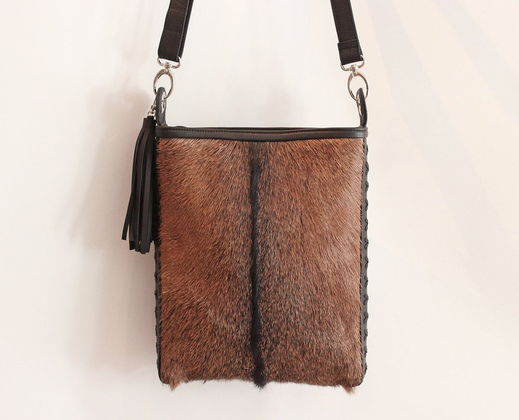 BROWN HIDE HAIR Bag, Cowhide Tote Bag w/ Leather Tassels
