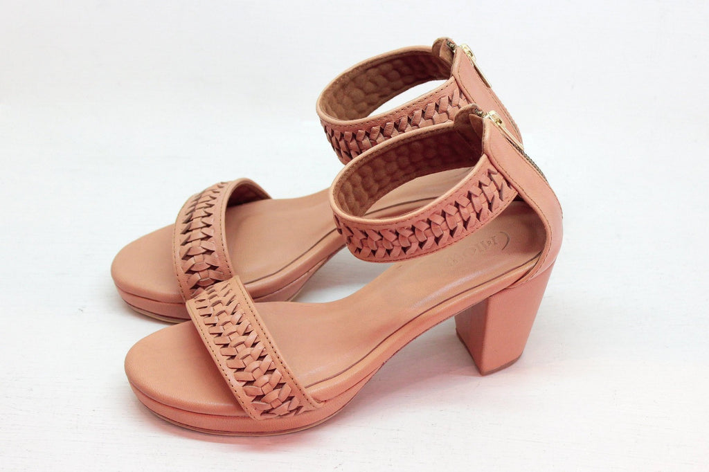 TAN LEATHER SHOES. Block Heel Sandals, Handmade High Heels Pumps Shoes