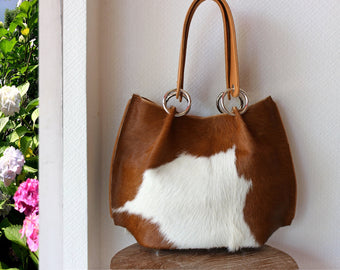 CALF HAIR LEATHER Tote Bag in Tan White. Pony Hair On Hide Cross Body Bag