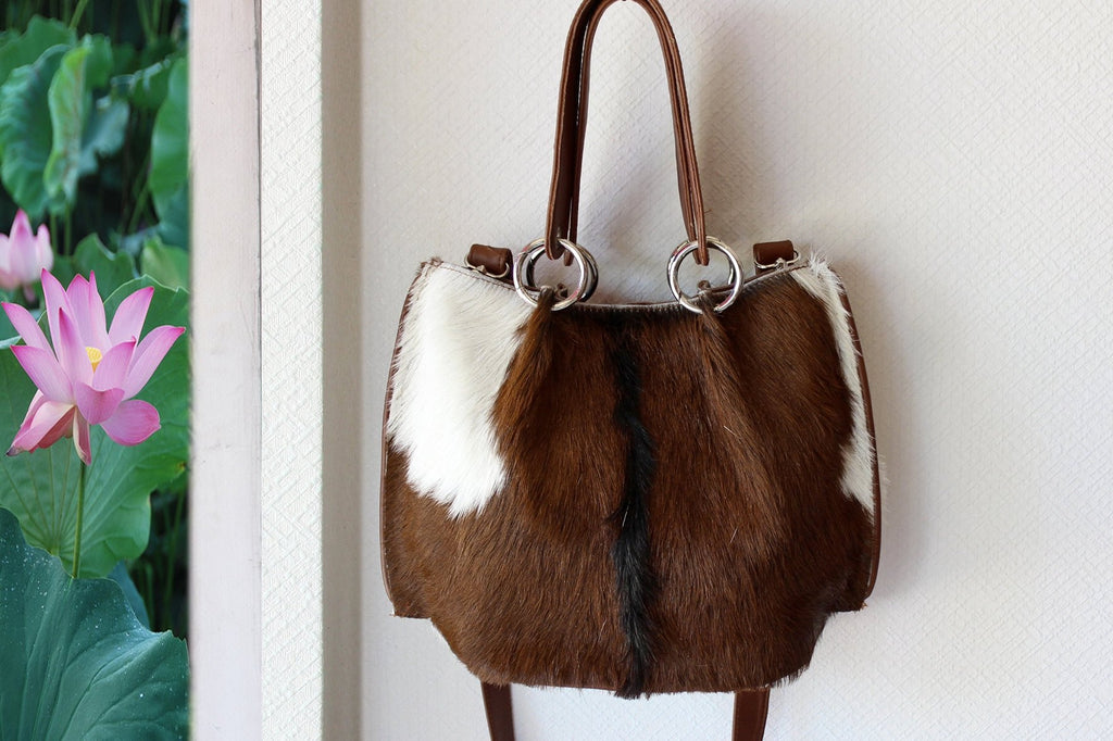 DARK BROWN COWHIDE Leather Bag, Brown White Cowhide Purse