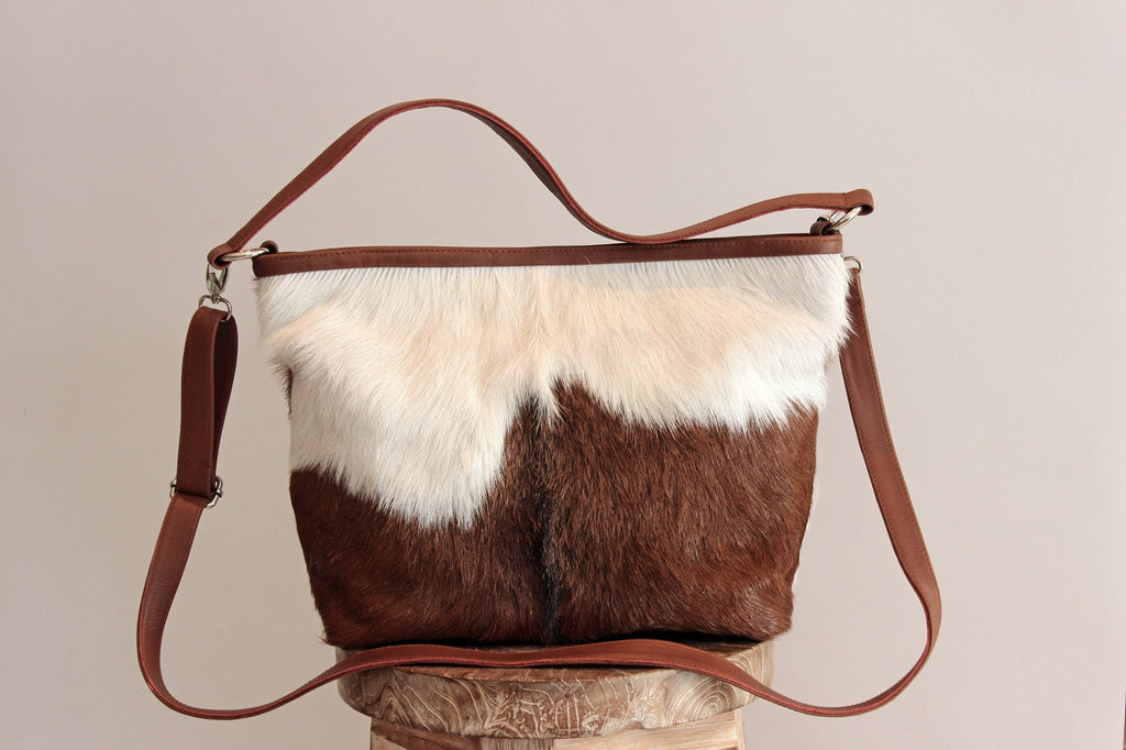 COWHIDE TOTE BAG, Animal Print, Brown and White, Texas Style. Patty Bag