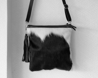 COWHIDE PURSE, 2 in 1 COWHIDE Clutch opens into Black White Hair