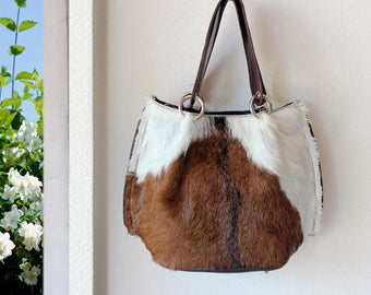 BROWN COWHIDE BAGS, Cowhide Tote Bag, Brown White Fur Purse