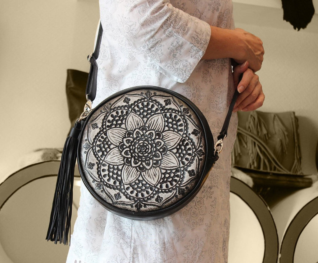 BLACK ROUND LEATHER Purse Hand tooled Mandala Florals