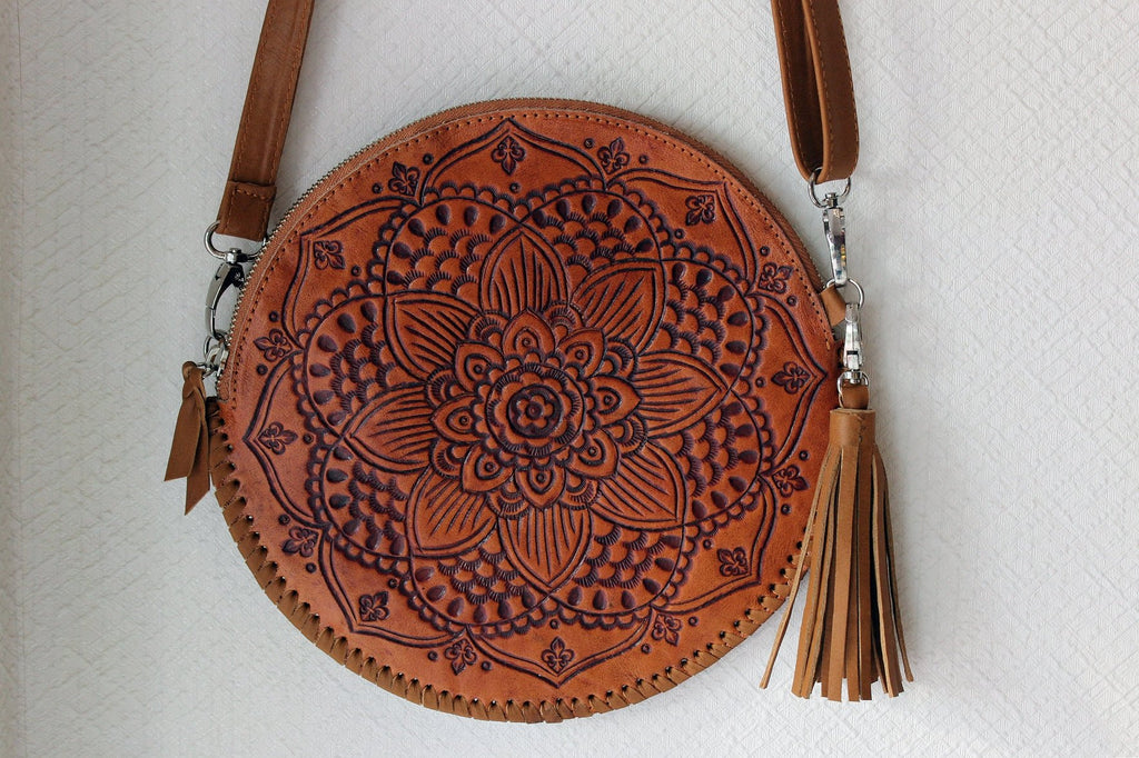ROUND LEATHER BAG in Hand Tooled Vintage Camel Carved Purse Circle Bag