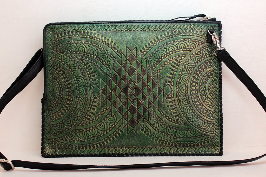 GREEN LEATHER DOCUMENT Holder, Tooled Leather Bag, Leather Lap Top Bag