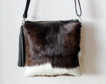 BROWN WHITE COWHIDE Purse, 2 in 1 Cowhide Clutch.