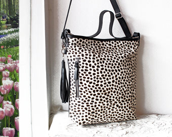 COWHIDE HandBag, Hair on Hide Bag, Leopard Print Bag