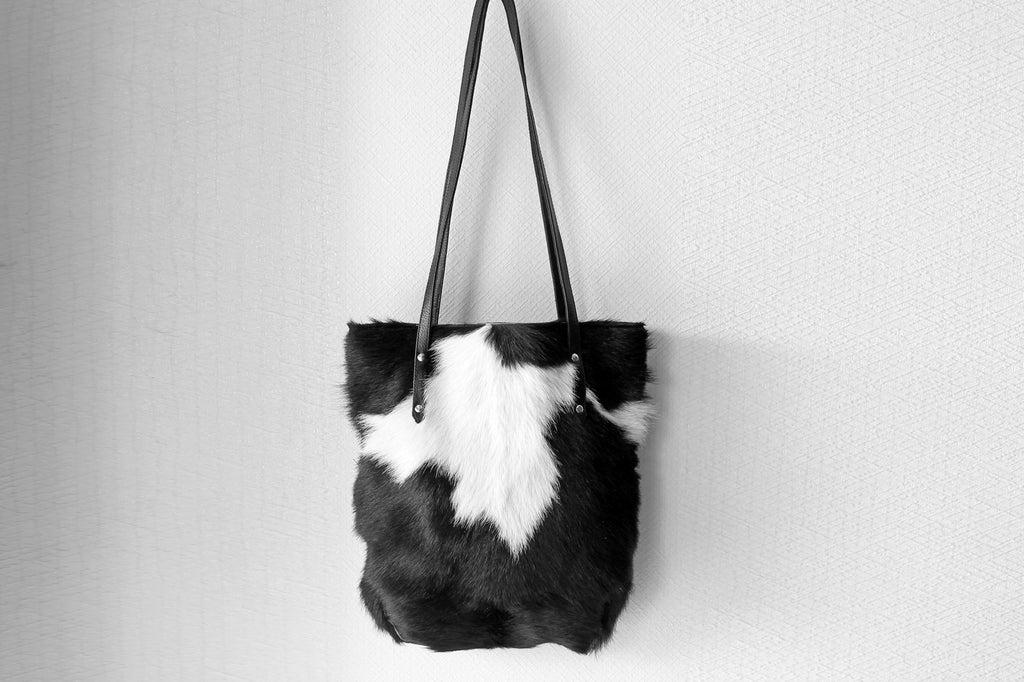 COWHIDE TOTE BAG, Black White Cowhide Purse, Western Hair on Hide Bag