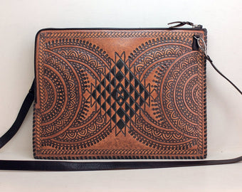 TOOLED LEATHER BAG, Mandala Circle, Tan Document Holder, Distressed Leather Lap Top Bag